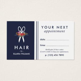 Cartes De Visite Rendez-vous floral de coiffeur de bleu marine de