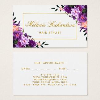 Cartes De Visite Rendez-vous floral pourpre violet de coiffeur