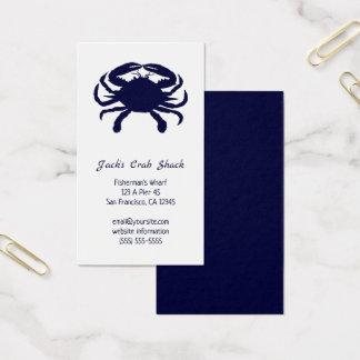 Cartes De Visite Restaurant bleu-foncé de fruits de mer de