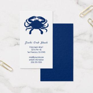 Cartes De Visite Restaurant de fruits de mer de silhouette de crabe