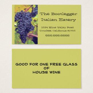 Cartes De Visite Restaurant italien ou Vinyard de raisins