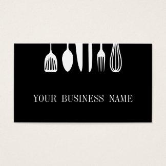 Cartes De Visite Restaurant noir et blanc moderne de cuillère et de