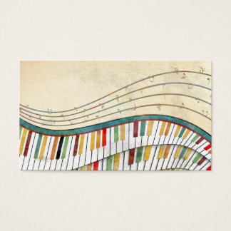 Cartes De Visite Rétro antiquité de couleurs de piano onduleux