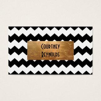 Cartes De Visite Rétro cuivre noir et blanc de motif de Chevron