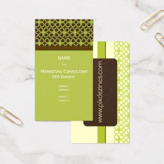 Cartes De Visite Rétro motif de trèfles/vert de mousse