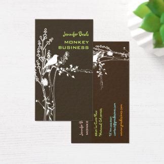 Cartes De Visite Rétro oiseau sur un arrière - plan/brun de