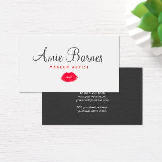 Cartes De Visite Rétro salon de beauté de baiser rouge de