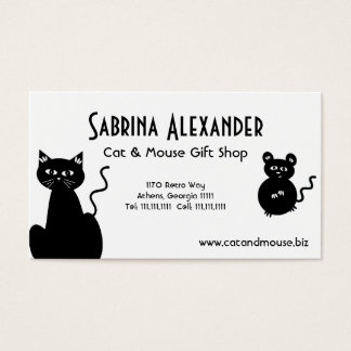 Cartes De Visite Rétros chat et souris mignons de bande dessinée