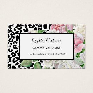 Cartes De Visite Rose à la mode d'empreinte de léopard de