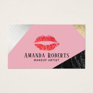Cartes De Visite Rose argenté de marbre d'or de lèvres rouges de