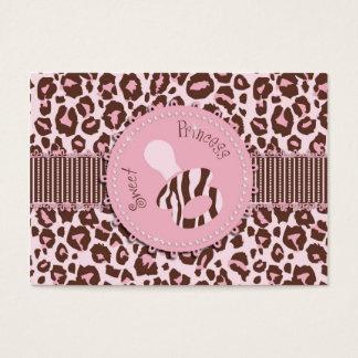 Cartes De Visite Rose B d'étiquette de cadeau de fille de guépard