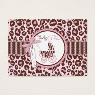 Cartes De Visite Rose D d'étiquette de cadeau de fille de guépard