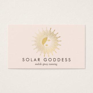 Cartes De Visite Rose de salon de bronzage de jet de logo de fille