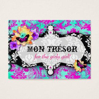Cartes De Visite Rose de turquoise de lundi Trésor de