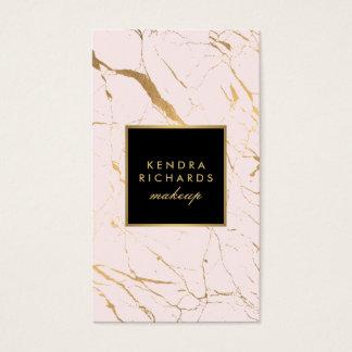 Cartes De Visite Rose et maquilleur de marbre d'or