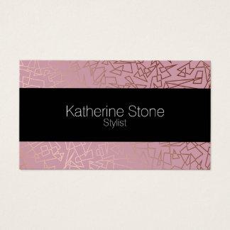 Cartes De Visite Rose géométrique de motif d'or rose élégant