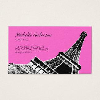 Cartes De Visite Rose noir chic français de Tour Eiffel