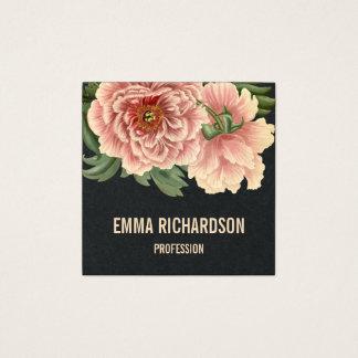 Cartes de visite roses à la mode floraux élégants