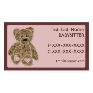 Cartes de visite roses bruns mignons de babysitter carte de visite standard