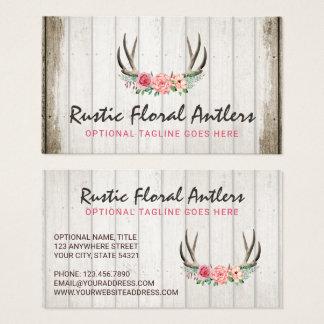 Cartes De Visite Roses chics minables et bois d'andouillers floraux