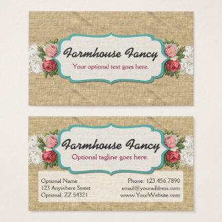 Cartes De Visite Roses chics minables sur la dentelle vintage et la