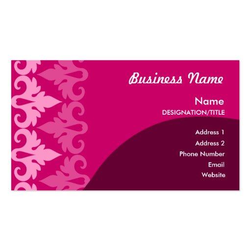 Cartes de visite roses de décor cartes de visite personnelles
