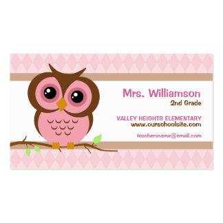 Cartes de visite roses de professeur d'Owly Carte De Visite Standard