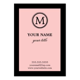 Cartes de visite roses et noirs élégants de monogr cartes de visite professionnelles