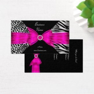 Cartes De Visite Roses indien élégantes de noir de léopard de zèbre