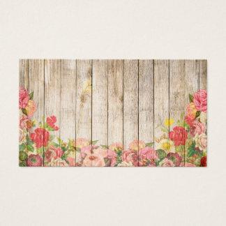 Cartes De Visite Roses romantiques rustiques vintages en bois
