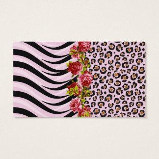 Cartes De Visite Roses sur des rayures d'empreinte de léopard et de