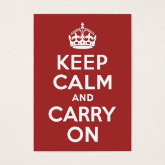 Cartes De Visite Rouge-brun gardez le calme et continuez