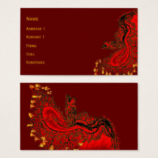 Cartes De Visite Rouge de dragon de la Chine et conception d'or