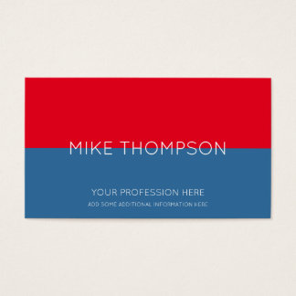 Cartes De Visite rouge et bleu, simple, frais et moderne