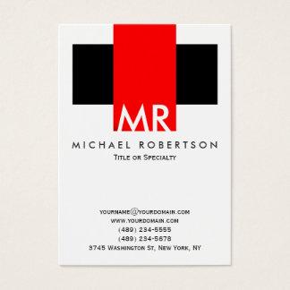 Cartes De Visite Rouges blancs de grand noir de monogramme