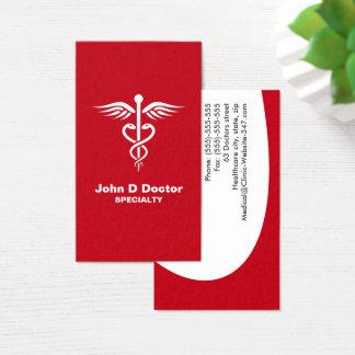 Cartes de visite rouges de médecin ou de soins de