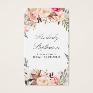 Cartes De Visite Rougissent l'aquarelle florale rose élégante