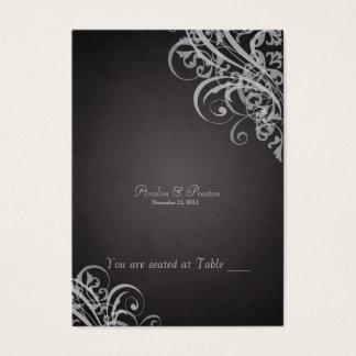 Cartes De Visite Rouleau noir et argenté baroque exquis Placecard