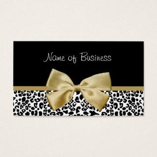 Cartes De Visite Ruban à la mode d'or d'empreinte de léopard de