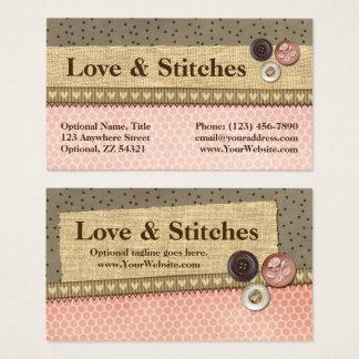 Cartes De Visite Ruban et boutons piqués rustiques sur la couture