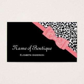 Cartes De Visite Ruban noir et blanc de rose de léopard de boutique
