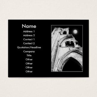 Cartes De Visite Ruines la nuit. Noir et blanc.