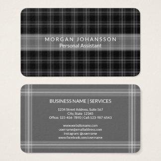 Cartes De Visite Rustique minimaliste simple noir moderne du plaid
