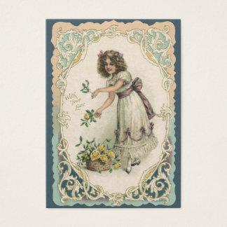 Cartes De Visite Saint-Valentin victorienne vintage, fille avec des