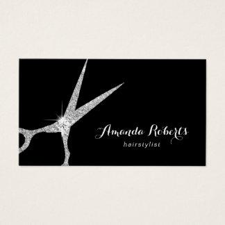 Cartes De Visite Salon argenté moderne de ciseaux de scintillement