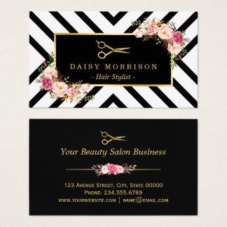 Cartes De Visite Salon de beauté floral de coiffeur de ciseaux d'or