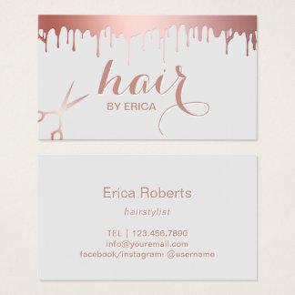 Cartes De Visite Salon de beauté rose moderne de ciseaux d'or de