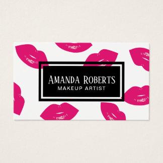 Cartes De Visite Salon de beauté rose moderne de maquilleur de