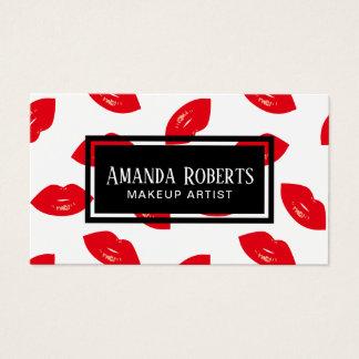 Cartes De Visite Salon de beauté rouge de maquilleur de motif de