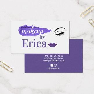 Cartes De Visite Salon de beauté violet élégant de lèvres de